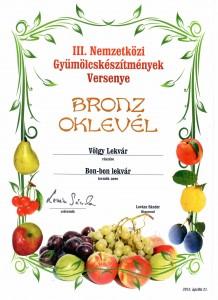 2013, III Nemzetközi Gyümölcskészítmények Versenye, Bronz