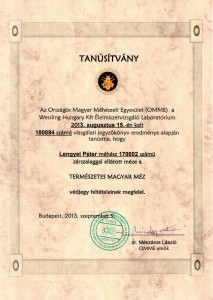 Tanúsítvány: Természetes Magyar Méz, 2013